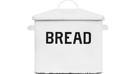 Creative Co-op Enameled Metal Distressed Bread Box